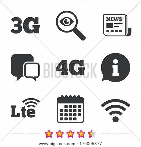 Mobile telecommunications icons. 3G, 4G and LTE technology symbols. Wi-fi Wireless and Long-Term evolution signs. Newspaper, information and calendar icons. Investigate magnifier, chat symbol. Vector