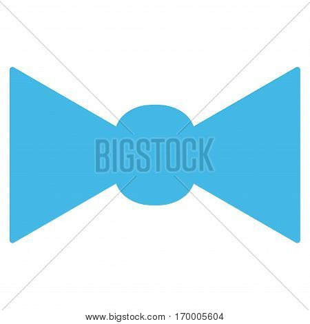 Bow Tie vector icon symbol. Flat pictogram designed with light blue and isolated on a white background.