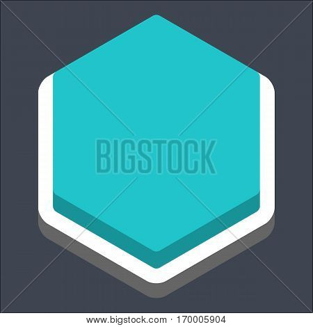 Web internet hexagon button in 3D flat style. Inactive variant. Quick and easy recolorable shape. Vector illustration a graphic element