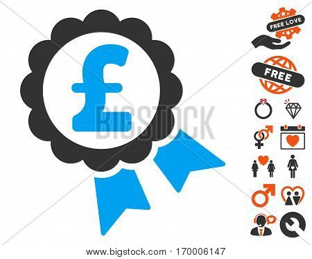 Featured Pound Price Label icon with bonus decorative images. Vector illustration style is flat iconic symbols for web design app user interfaces.