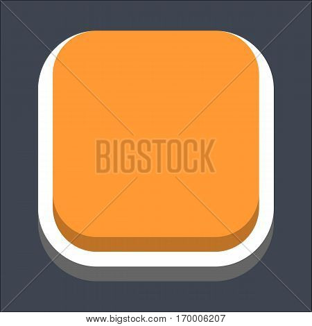 Web internet square button in 3D flat style. Inactive variant. Quick and easy recolorable shape. Vector illustration a graphic element