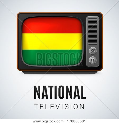 Vintage TV and Flag of Bolivia as Symbol National Television. Tele Receiver with Bolivian flag