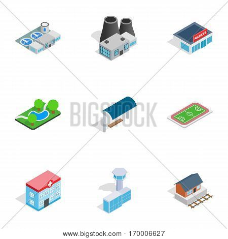Cityscape icons set. Isometric 3d illustration of 9 cityscape vector icons for web