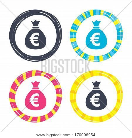 Money bag sign icon. Euro EUR currency symbol. Colored buttons with icons. Poker chip concept. Vector