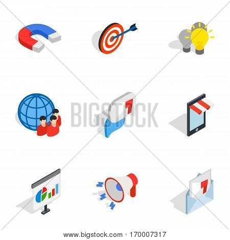 Electronic commerce icons set. Isometric 3d illustration of 9 electronic commerce vector icons for web