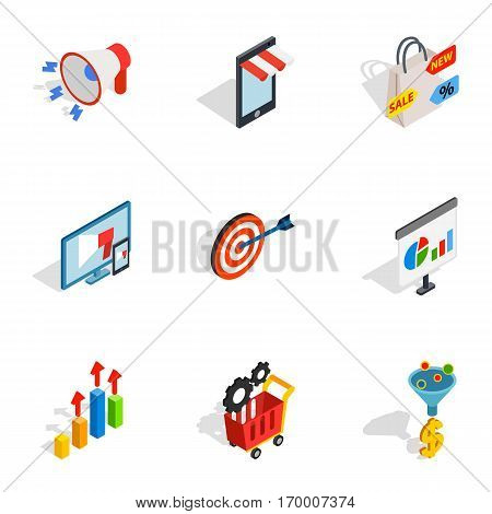 Online shop icons set. Isometric 3d illustration of 9 online shop vector icons for web