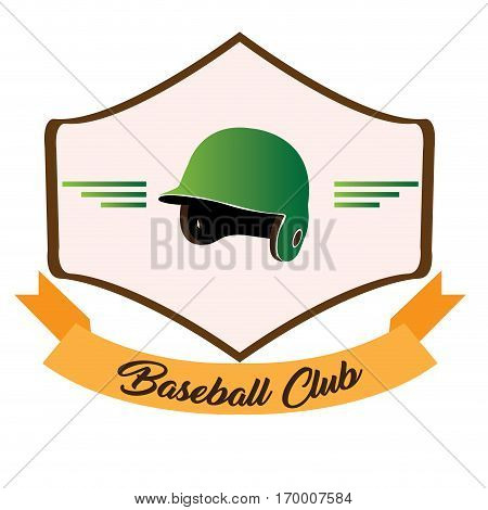 Isolated baseball emblem with a helm, Vector illustration