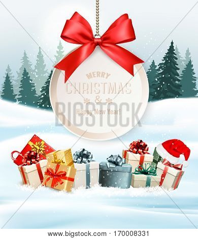 Holiday Christmas background with a gift boxes and gift card with red bow. Vector