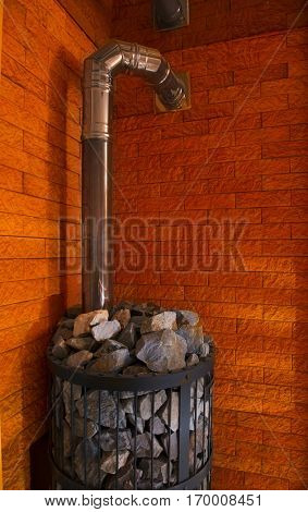 The furnace to produce steam and heat in the rank with natural stones