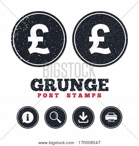 Grunge post stamps. Pound sign icon. GBP currency symbol. Money label. Information, download and printer signs. Aged texture web buttons. Vector
