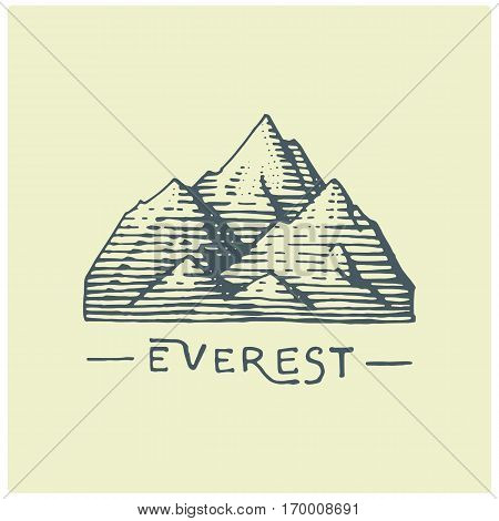 engraved vintage logo with mountains in hand drawn, sketch style, old looking retro badge for national parks and camping, alpine and hiking theme.