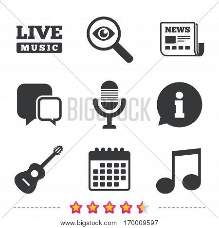 Musical elements icons. Microphone and Live music symbols. Music note and acoustic guitar signs. Newspaper, information and calendar icons. Investigate magnifier, chat symbol. Vector