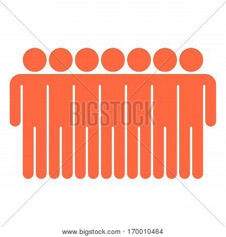 Seven men stands with his hands down. Quick and easy recolorable shape. Vector illustration a graphic element