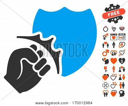 Fist Strike Shield icon with bonus dating graphic icons. Vector illustration style is flat iconic elements for web design app user interfaces.
