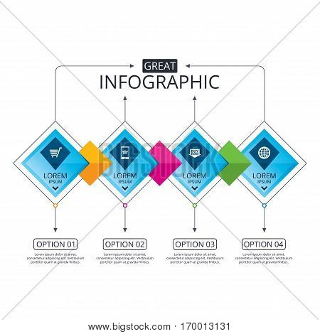 Infographic flowchart template. Business diagram with options. Online shopping icons. Smartphone, shopping cart, buy now arrow and internet signs. WWW globe symbol. Timeline steps. Vector