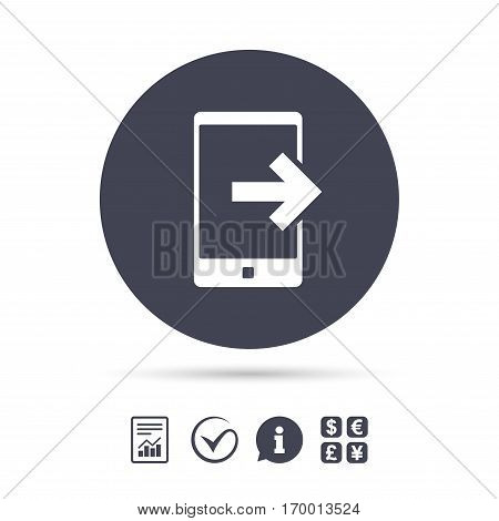 Outcoming call sign icon. Smartphone symbol. Report document, information and check tick icons. Currency exchange. Vector