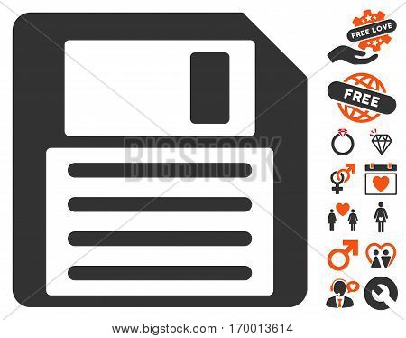 Floppy pictograph with bonus passion graphic icons. Vector illustration style is flat iconic symbols for web design app user interfaces.