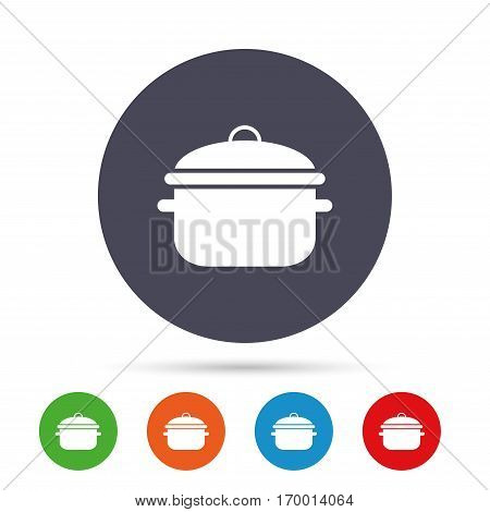 Cooking pan sign icon. Boil or stew food symbol. Round colourful buttons with flat icons. Vector