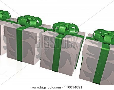Gift boxes on the white background 3D illustration.