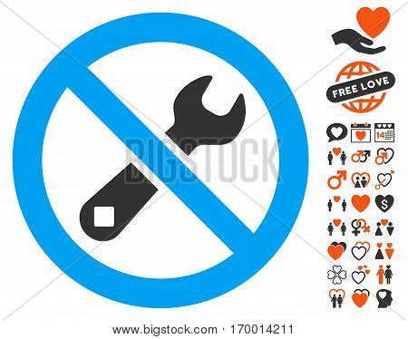 Forbidden Repair pictograph with bonus love pictograph collection. Vector illustration style is flat iconic elements for web design app user interfaces.