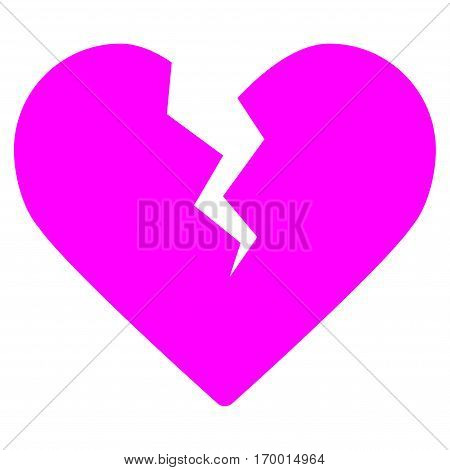 Divorce Heart vector icon symbol. Flat pictogram designed with magenta and isolated on a white background.