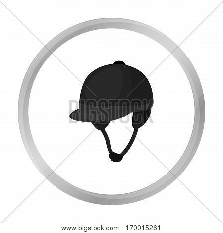 Jockey's helmet icon in monochrome design isolated on white background. Hippodrome and horse symbol stock vector illustration.