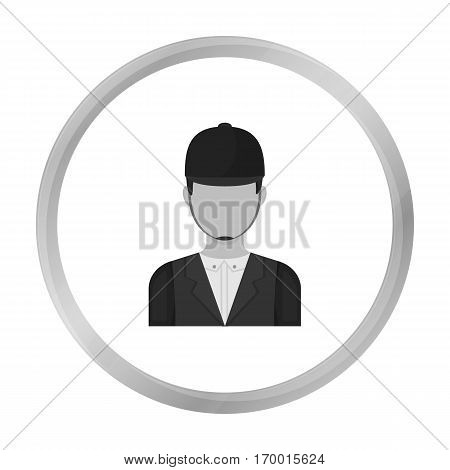 Jockey icon in monochrome design isolated on white background. Hippodrome and horse symbol stock vector illustration.