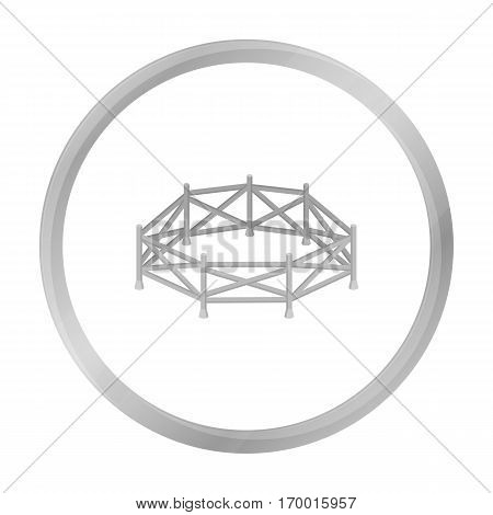 Paddock icon in monochrome design isolated on white background. Hippodrome and horse symbol stock vector illustration.