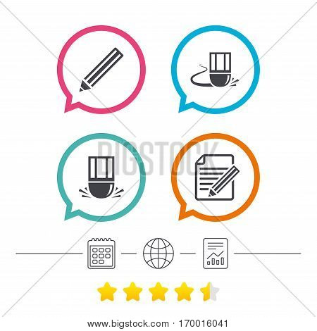 Pencil icon. Edit document file. Eraser sign. Correct drawing symbol. Calendar, internet globe and report linear icons. Star vote ranking. Vector