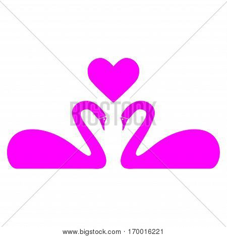Love Swans vector icon symbol. Flat pictogram designed with magenta and isolated on a white background.