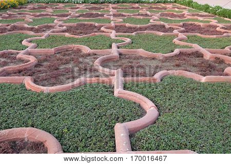 AGRA, INDIA - FEBRUARY 14: Angoori Bagh or Garden of Grapes at Agra Fort. It's symmetrical garden near Dewan-e-Khaas. It was a private garden for Mughal ladies, Agra, India on February 14, 2016.
