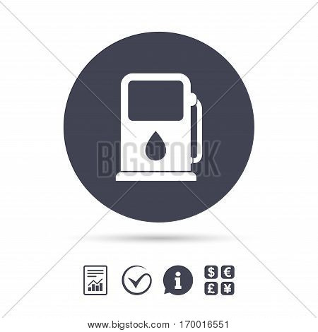 Petrol or Gas station sign icon. Car fuel symbol. Report document, information and check tick icons. Currency exchange. Vector