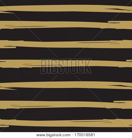 Hand drawn ink textured striped background. Black and gold colors  vintage background. Scrapbooking, holiday cards, wallpaper, textile design.