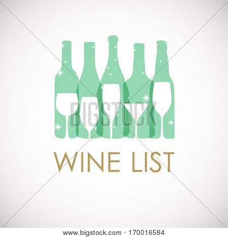 Abstract Illustration of wine bottles and glasses in pastel colors. Wine list design template.