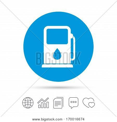 Petrol or Gas station sign icon. Car fuel symbol. Copy files, chat speech bubble and chart web icons. Vector