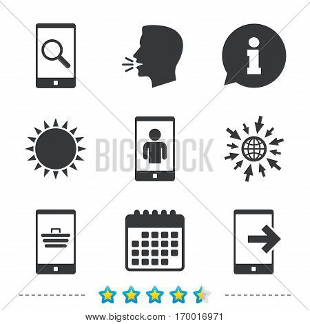 Phone icons. Smartphone video call sign. Search, online shopping symbols. Outcoming call. Information, go to web and calendar icons. Sun and loud speak symbol. Vector