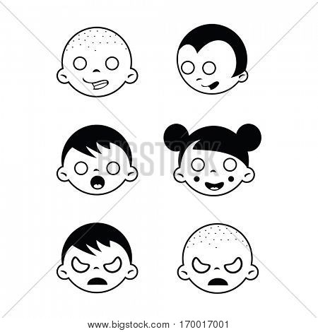 weird kids faces isolated on white