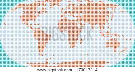 World map atlas background in flat dot style in square shapes. Quick and easy re-colorable shape. Vector illustration a graphic element
