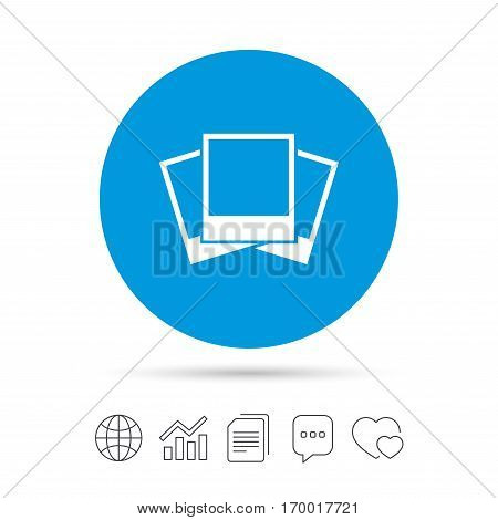 Photo frames template sign icon. Empty photography symbol. Copy files, chat speech bubble and chart web icons. Vector
