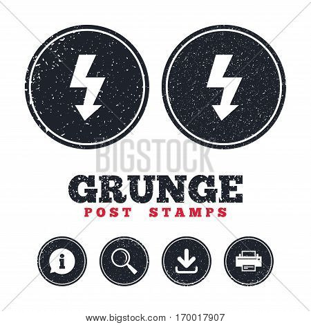 Grunge post stamps. Photo flash sign icon. Lightning symbol. Information, download and printer signs. Aged texture web buttons. Vector