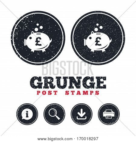 Grunge post stamps. Piggy bank sign icon. Moneybox pound symbol. Information, download and printer signs. Aged texture web buttons. Vector