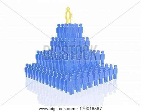 Yellow and blue mans on white reflective background 3D illustration.