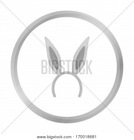 Bunny headband icon in monochrome style isolated on white background. Hats symbol vector illustration.