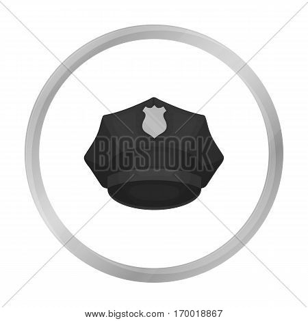 Police cap icon in monochrome style isolated on white background. Hats symbol vector illustration.