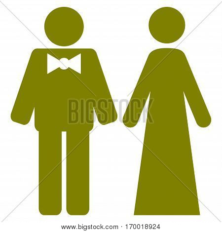 Just Married Persons vector icon symbol. Flat pictogram designed with olive and isolated on a white background.