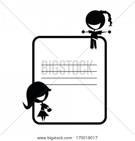 two cute girls on schoolbook sticker cartoon