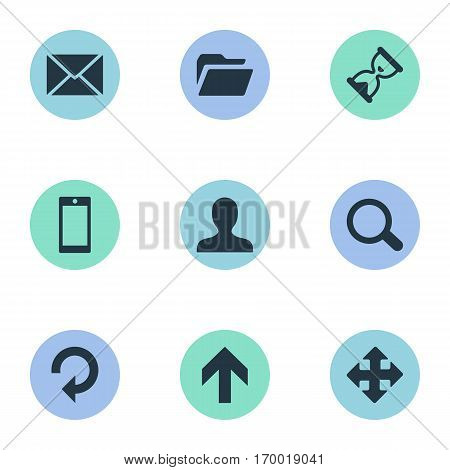 Set Of 9 Simple Practice Icons. Can Be Found Such Elements As Smartphone, Dossier, Message And Other.