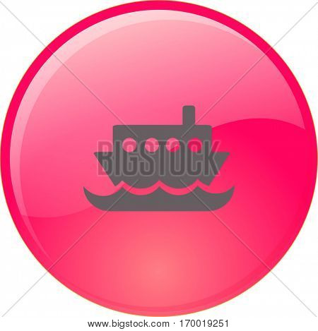 Flat vector icon for steamboat