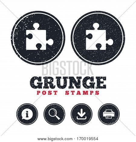 Grunge post stamps. Puzzle piece sign icon. Strategy symbol. Information, download and printer signs. Aged texture web buttons. Vector