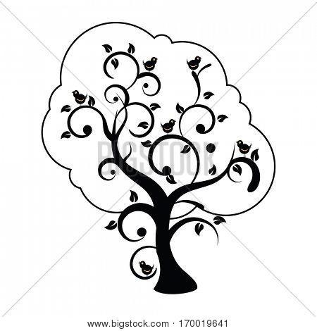 stylized swirly tree with birds singing cartoon